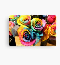 Colorful Bouquet of Rainbow Roses Canvas Print