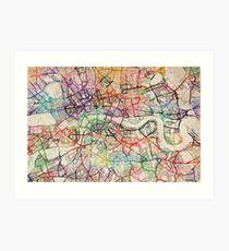 Watercolour Map of London Art Print