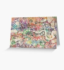 Watercolour Map of London Greeting Card
