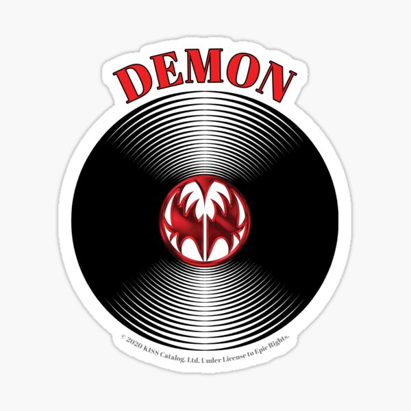 Red Demon Artwork in Center of Vinyl Record - Kiss Sticker