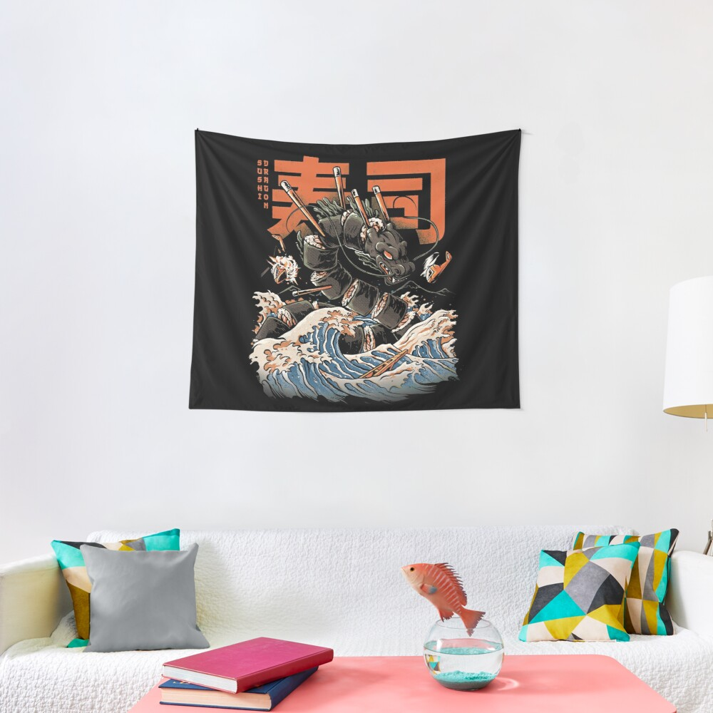 The Black Sushi Dragon Tapestry
