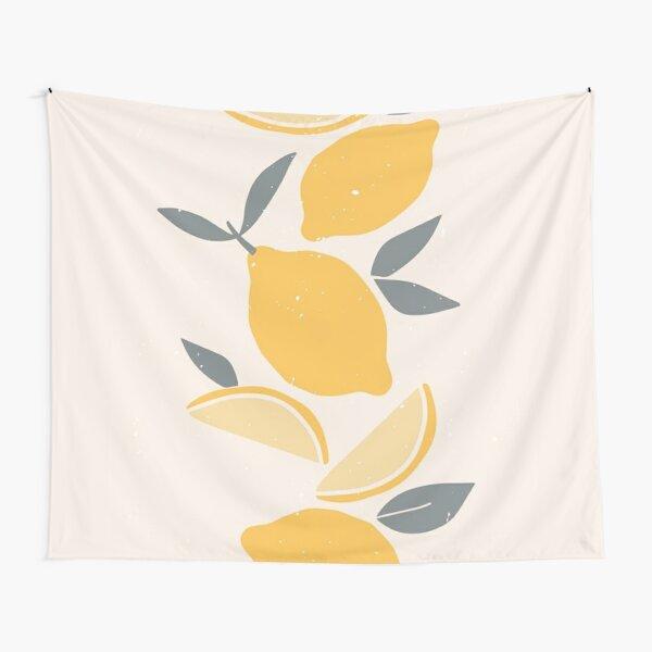 Minimalist Minimal Lemon Graphic Illustration Fun Colorful Pop Art Tapestry