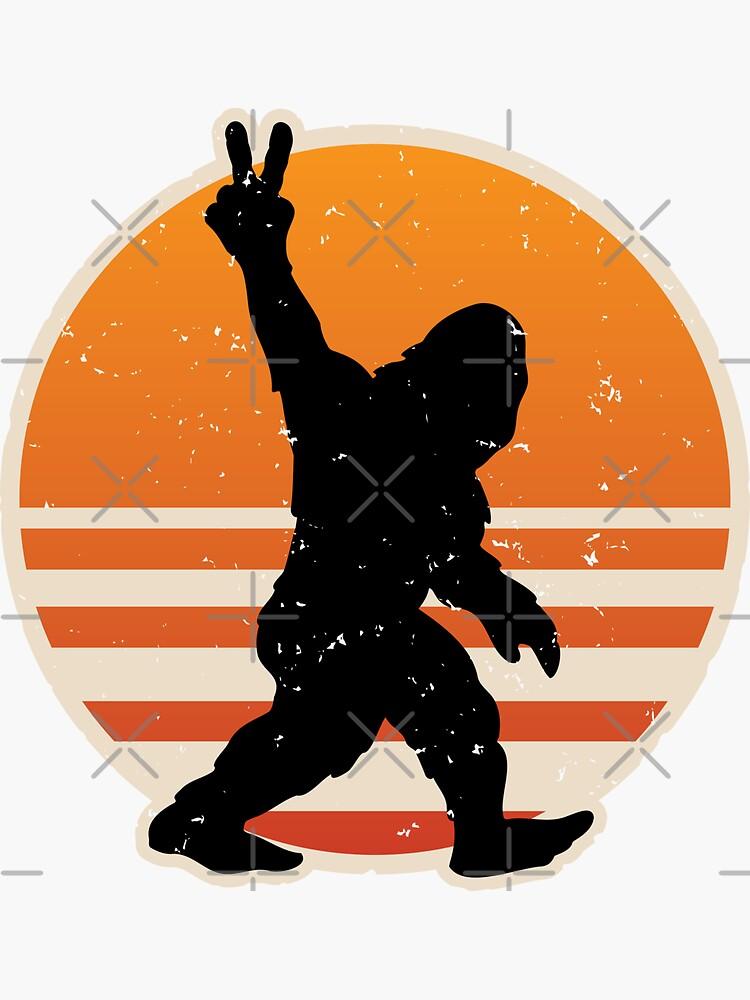 Retro Bigfoot Peace Sign by hobrath