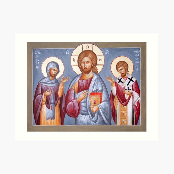 Deisis: Christ, St Anastasios & St Eleftherios Art Print