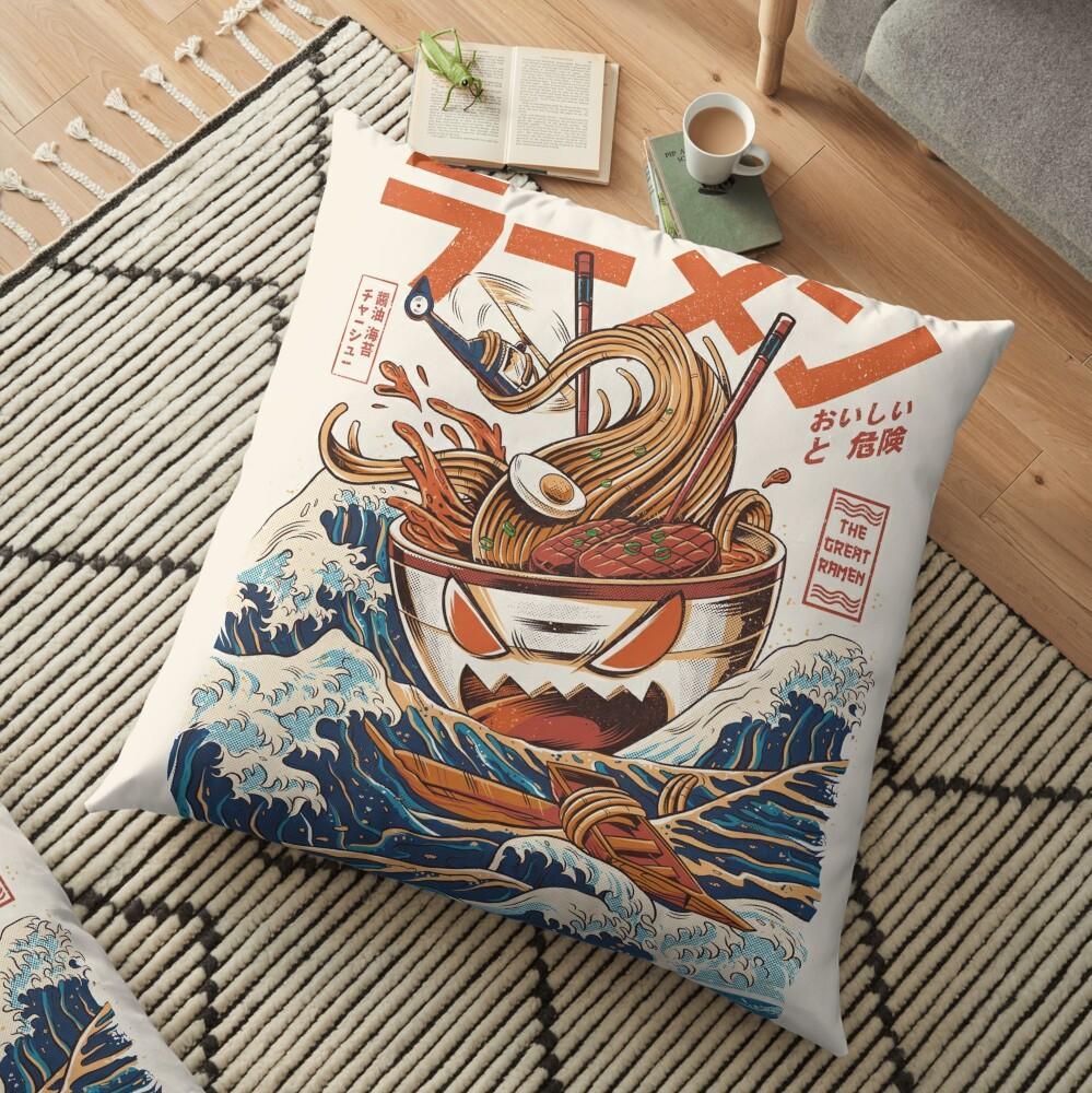 The Great Ramen off Kanagawa Floor Pillow