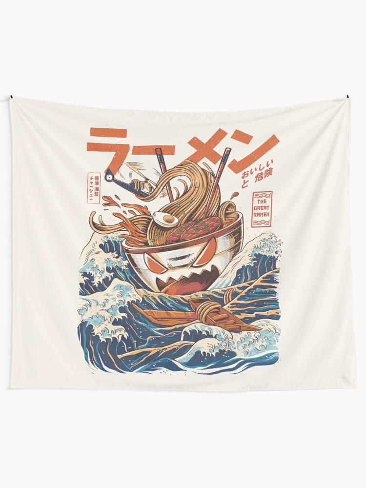 Alternate view of The Great Ramen off Kanagawa Tapestry