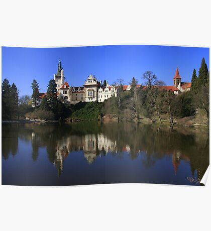 Pruhonice Castle with mirror image Poster