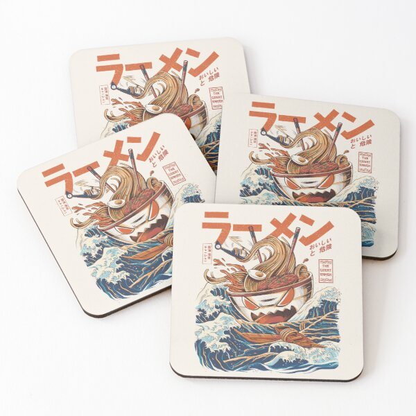 The Great Ramen off Kanagawa Coasters (Set of 4)