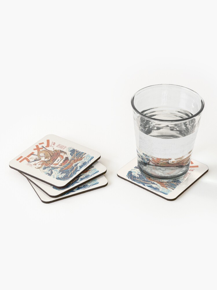 Alternate view of The Great Ramen off Kanagawa Coasters (Set of 4)