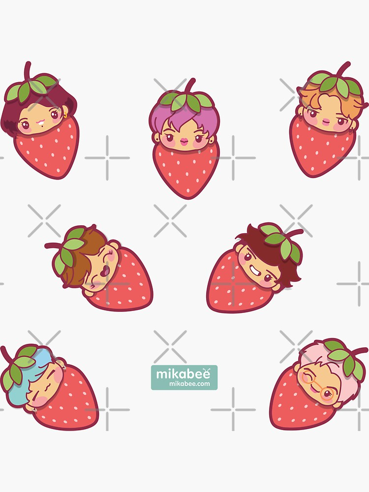 BTS Strawberry Patch ~Stickers~ by MikaBees