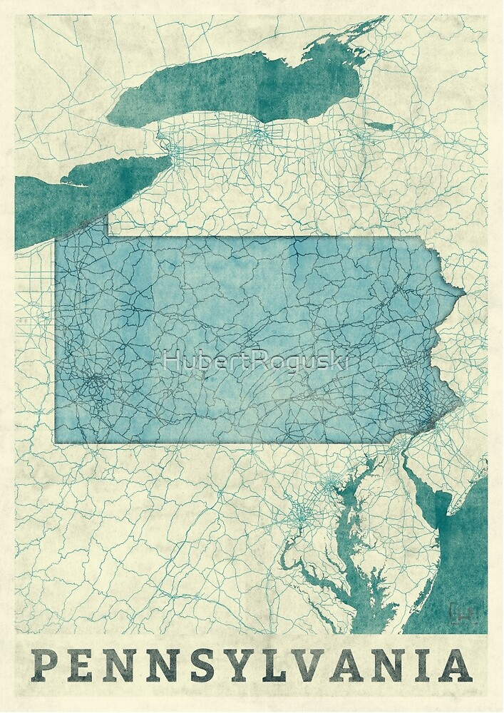 Pennsylvania Map Blue Vintage by HubertRoguski