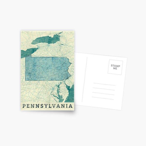Pennsylvania Map Blue Vintage Postcard