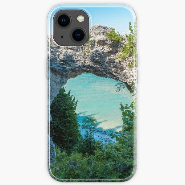 Looking at Lake Michigan through Arch Rock on Mackinac Island in Michigan iPhone Soft Case