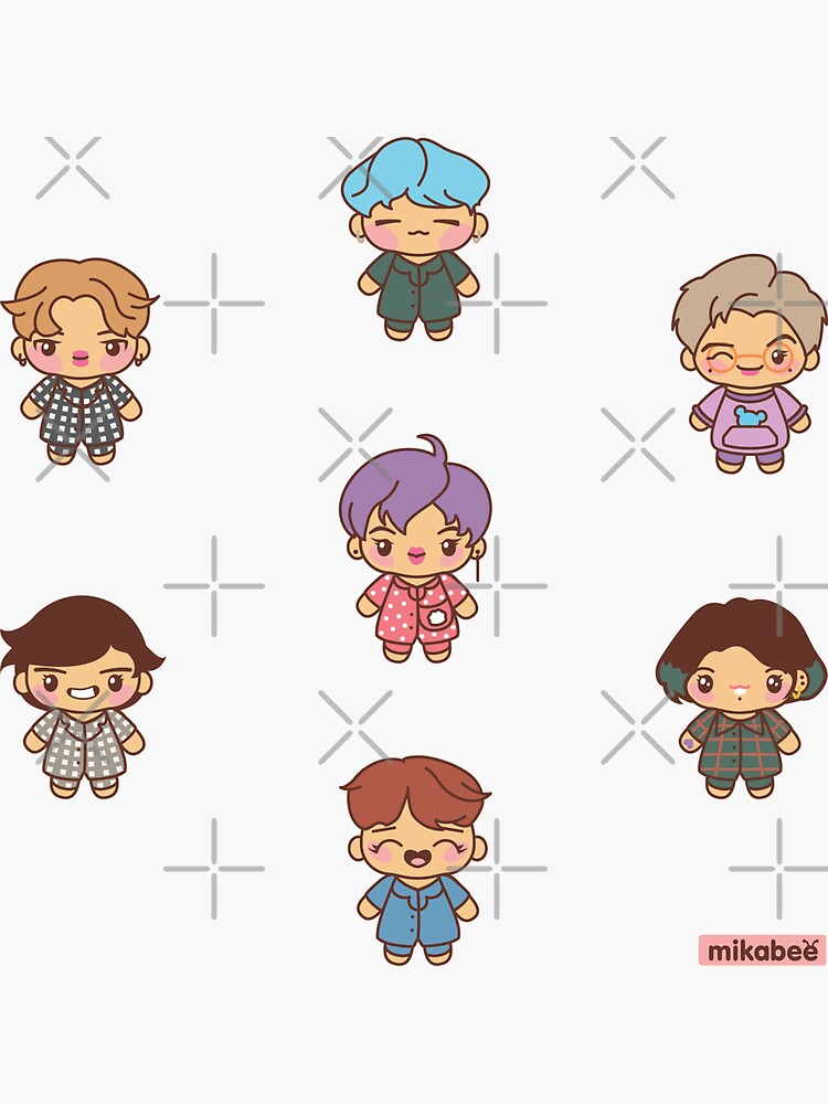 BTS Pajama Party Stickers (Version 2) by MikaBees