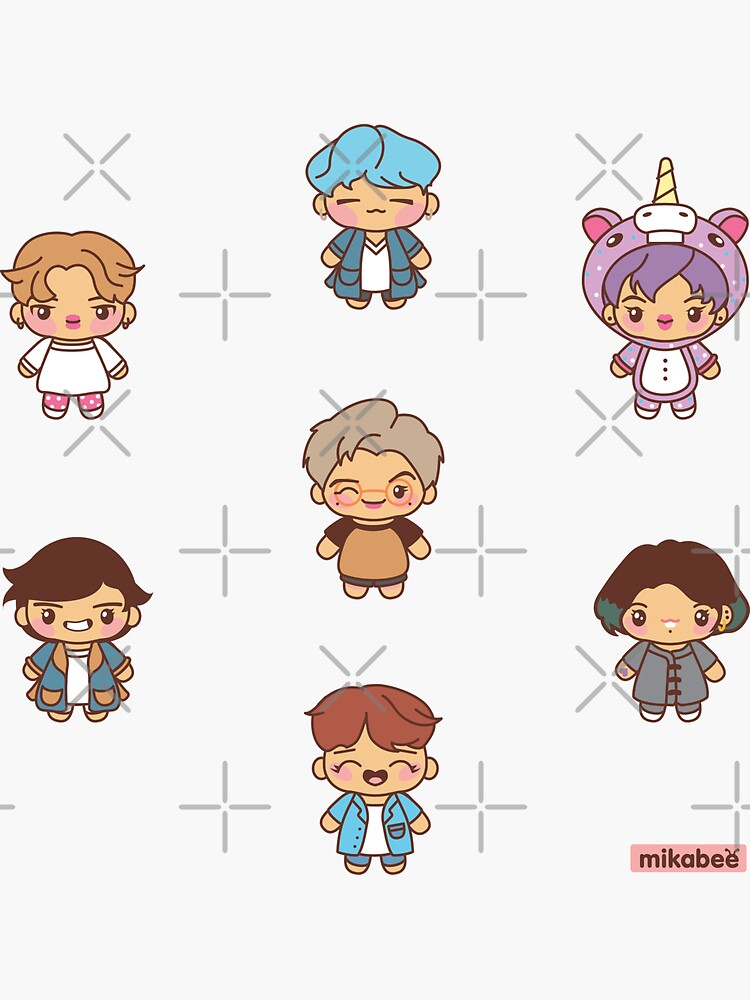 BTS Pajama Party Stickers (Run BTS Version) by MikaBees