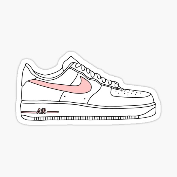 pink nike sign af1 shoe Sticker
