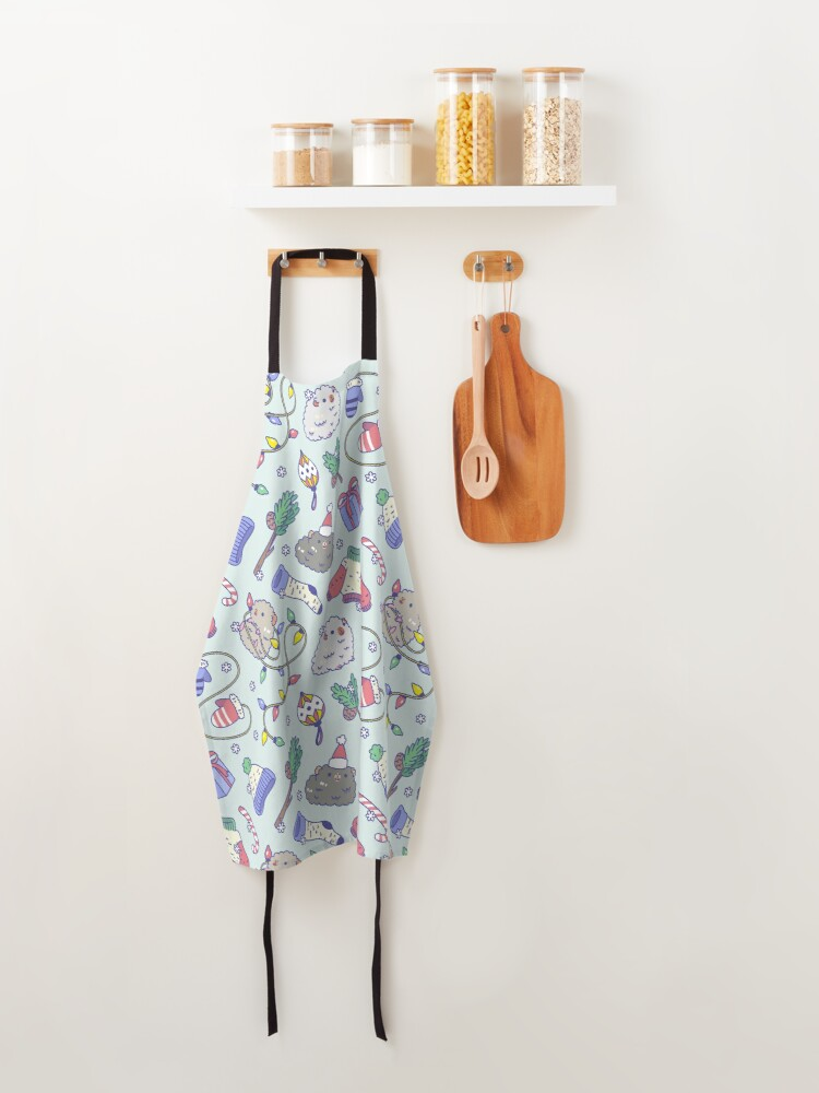 Alternate view of Teddy guinea pigs Christmas Patten in Mint Green Background  Apron