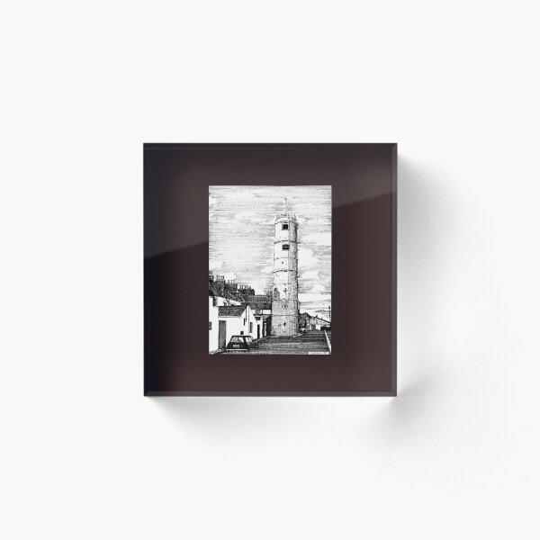 163 - BATH TERRACE LIGHTHOUSE, BLYTH (INK 1988) Acrylic Block