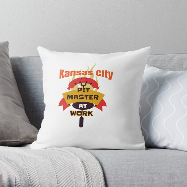 BBQ Kansas City Pitmaster Sausage on a Fork funny design Throw Pillow