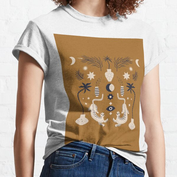 Mid Century Magic Cool Minimal Minimalist Neutral Tones Fantasy Abstract Illustration Moon Sun Tiger Chinese Zodiac Classic T-Shirt