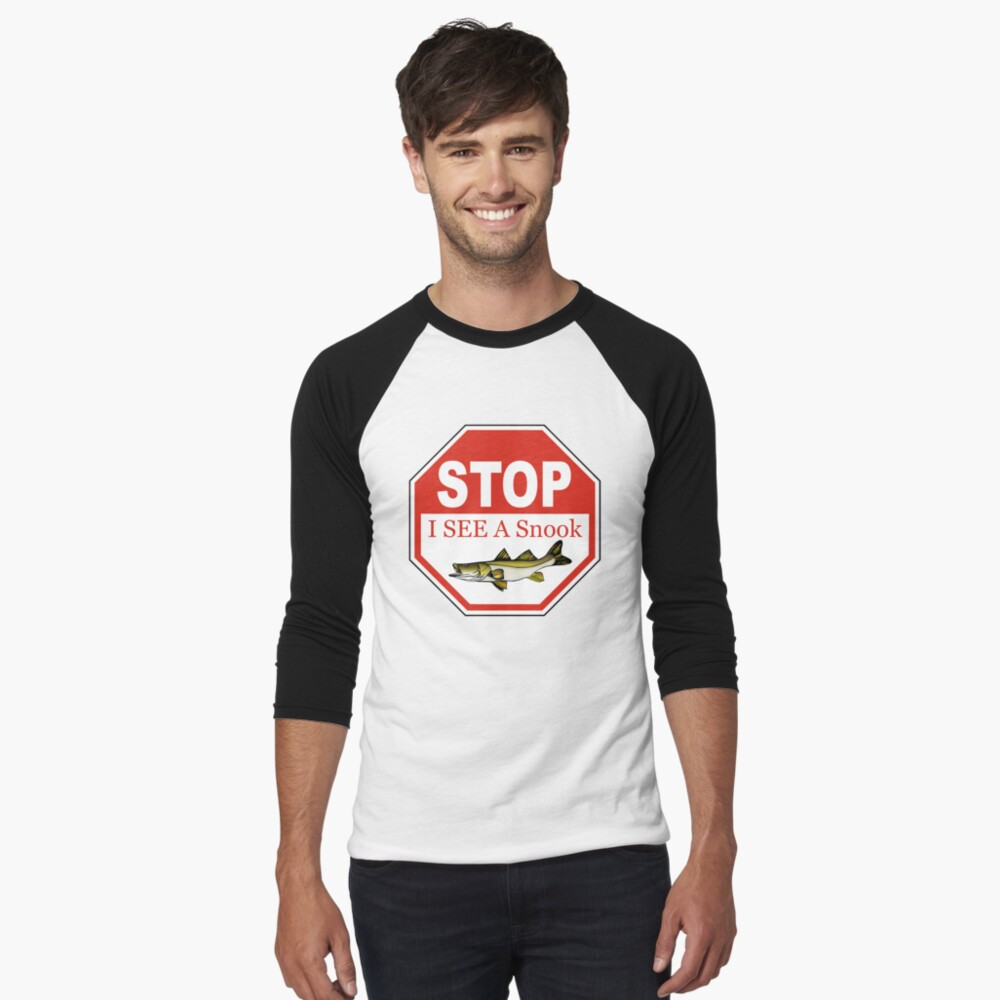 Stop I See a Snook in the Florida Keys Baseball ¾ Sleeve T-Shirt