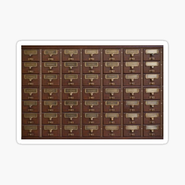 Vintage Library Card Catalog Drawers Sticker