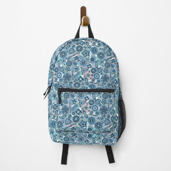 Ernst Haeckel Teal Diatoms Tossed over Sea Squirts Backpack