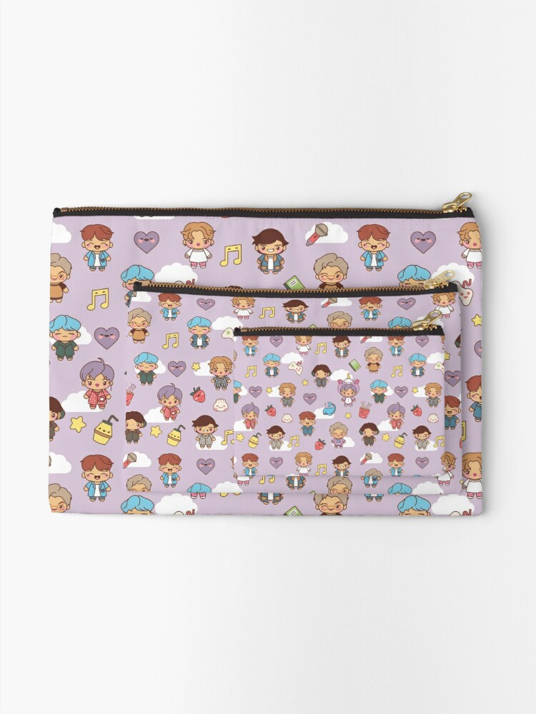 Alternate view of BTS Pajama Party (Purple, Pouches & Sleeves) Zipper Pouch