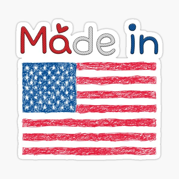 Made In The Usa  - Drawn with a pen Sticker