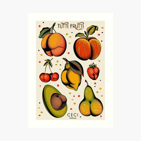 Tutti Frutti, sexy Früchte Tattoo Flash Kunstdruck