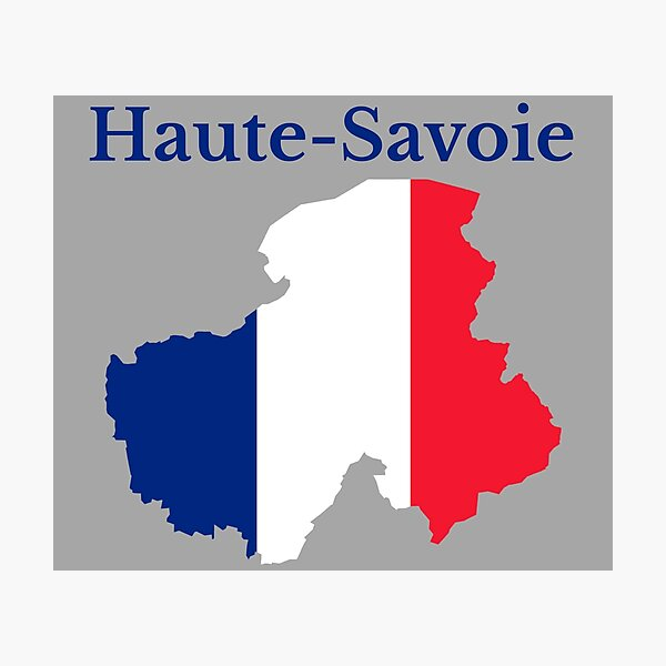 Haute Savoie Map, France, French Department Photographic Print