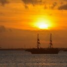 Cancun Ship at Sunset by Imagery