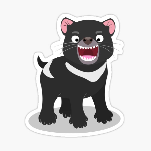 Cute hungry Tasmanian devil cartoon illustration Sticker