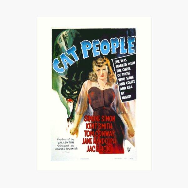 Cat People - cartel de película de terror vintage Lámina artística