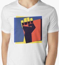 Pop Art Black Power Fist Mens V-Neck T-Shirt