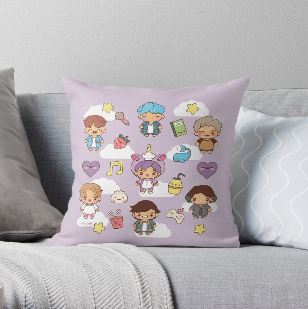 BTS Pajama Party (Purple, Pillows) Throw Pillow
