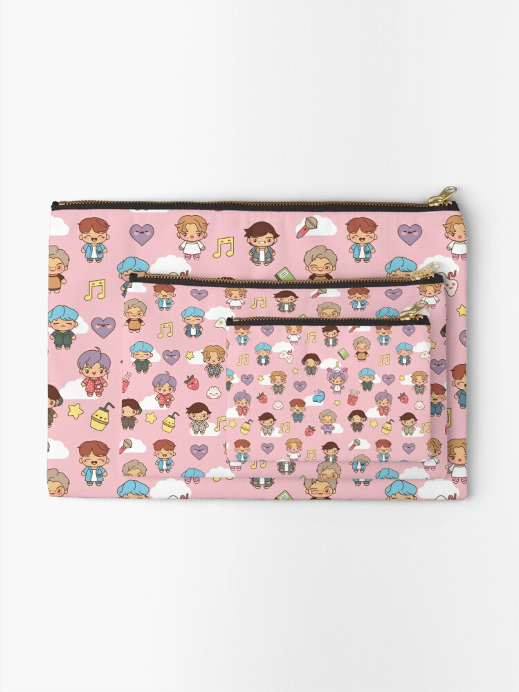 Alternate view of BTS Pajama Party (Pink, Pouches & Sleeves) Zipper Pouch