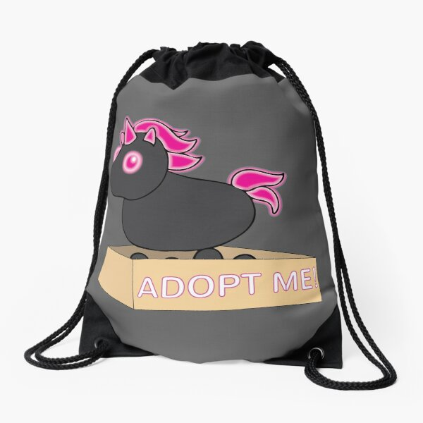 Mega Neon Black and Hot Pink Evil Unicorn Legendary Drawstring Bag