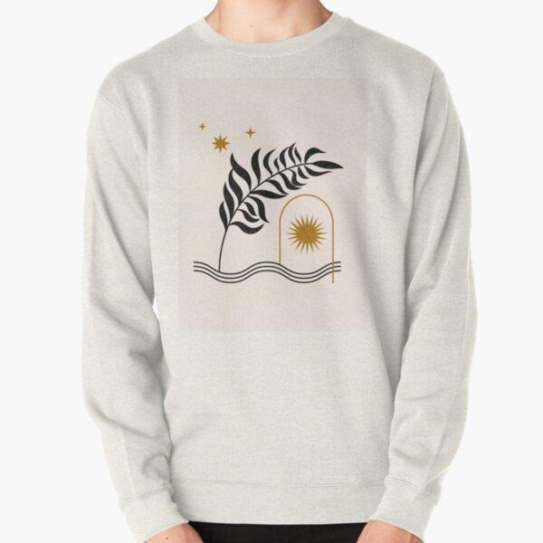 Mid Century Magic Minimalist Black Plant Leaf Golden Sun Motif Bohemian Boho Style Pullover Sweatshirt