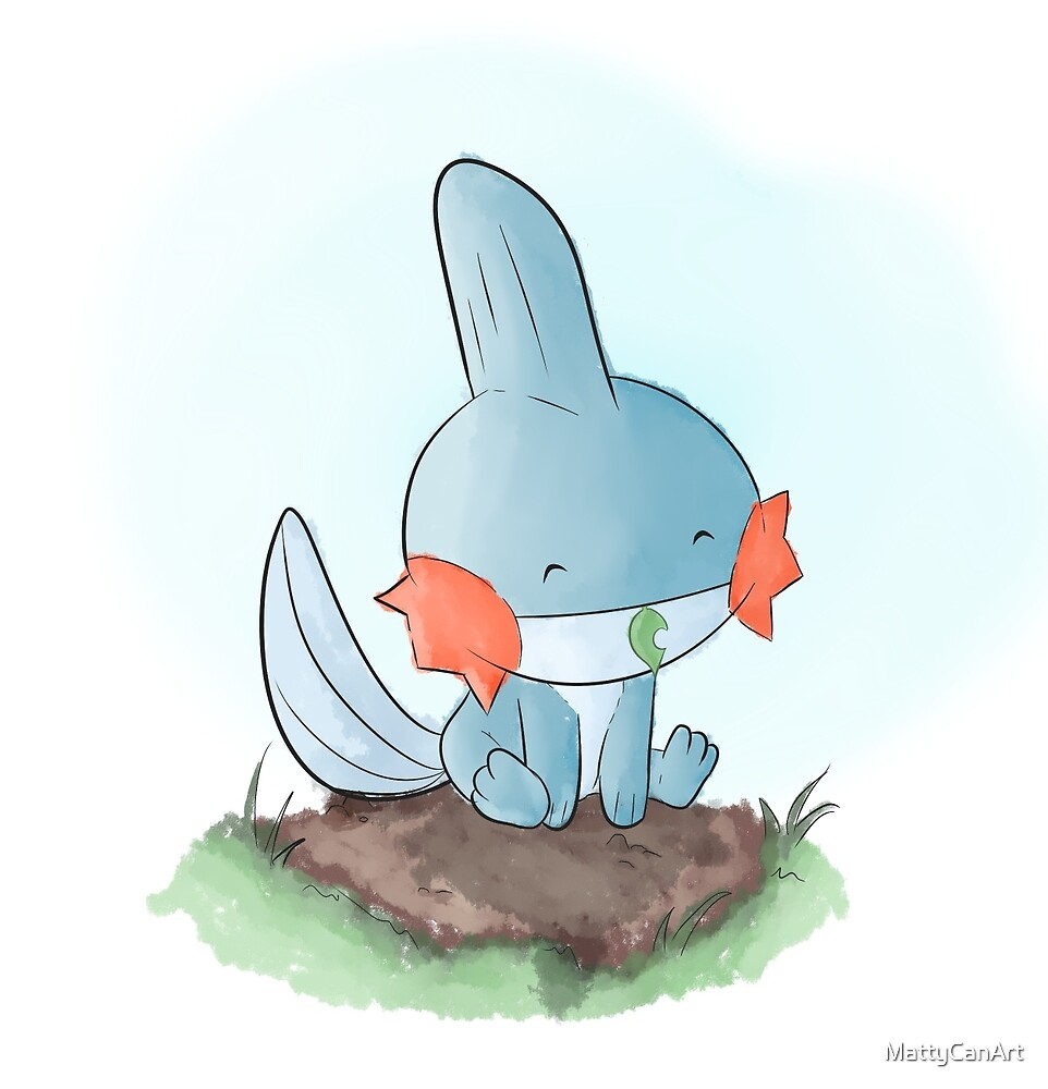 Mudkip is resting by MattyCanArt