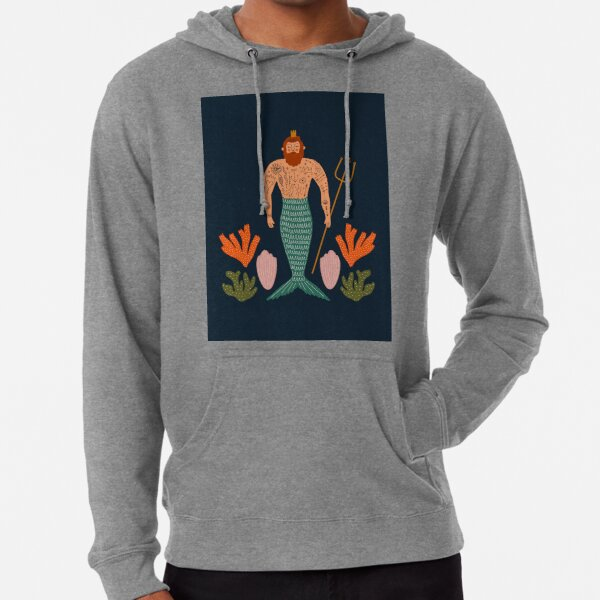 Mid Century Magic Male Mermaid with Tattoos Aquatic Coral Sea Shells Fantasy Fun Illustration Hipster Man Lightweight Hoodie