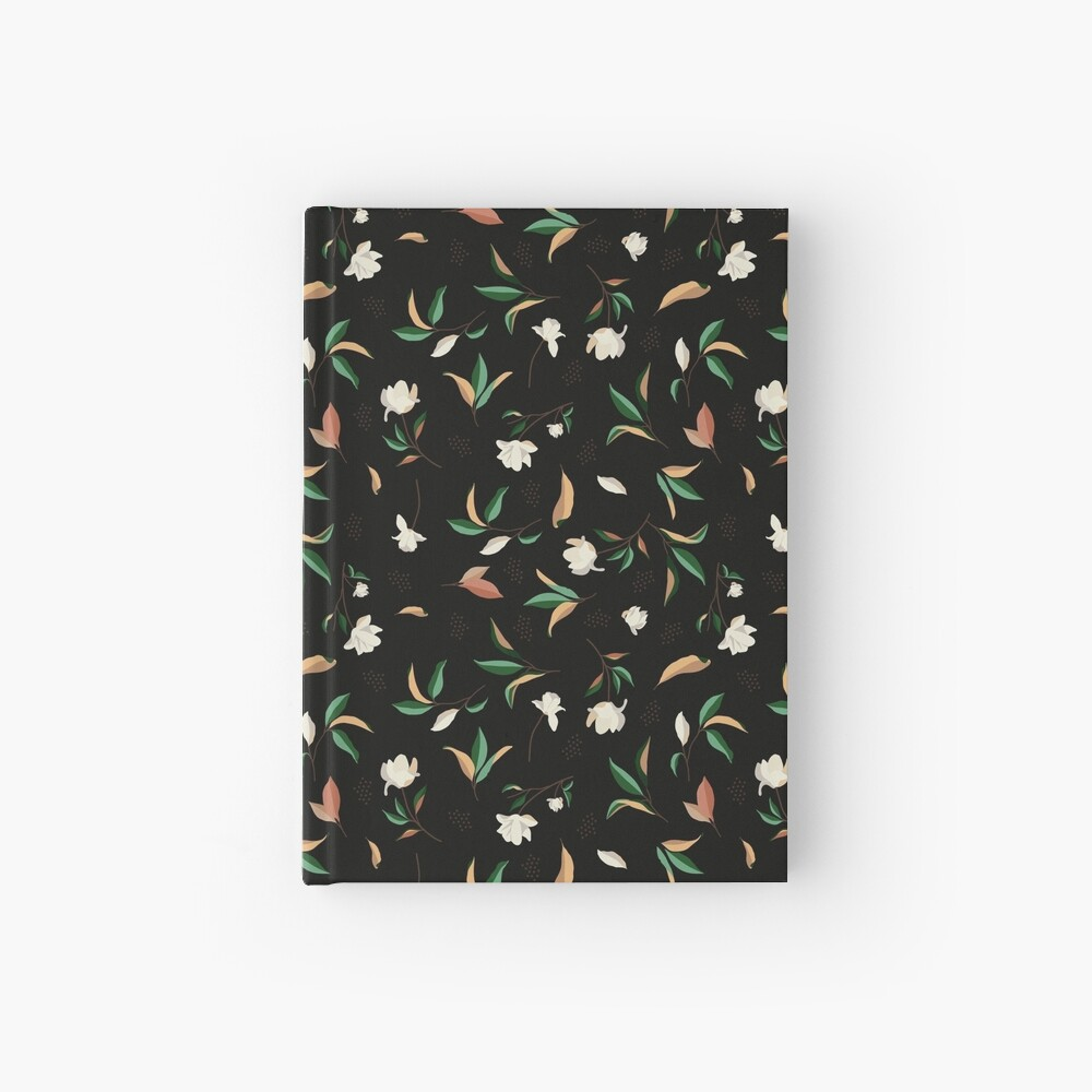 Magnolia flower and leaves Pattern Hardcover Journal