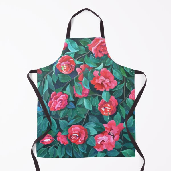 """""""Camellias, lips and berries"""" Apron"""