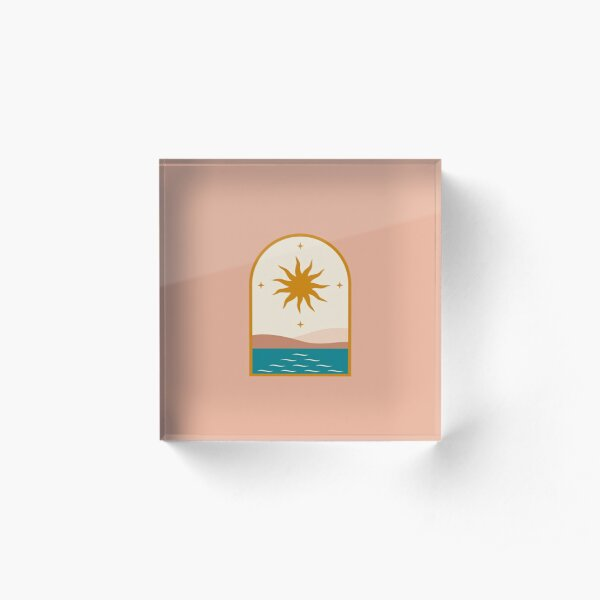 Mid Century Magic Window Frame Golden Sun Over The blue Nile Contemporary Trendy Style Pink Pastel Hues Boho Bohemian Acrylic Block