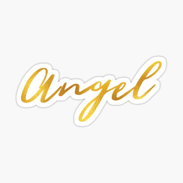 Letras de mano de nombre de ángel en letras de oro falso Pegatina