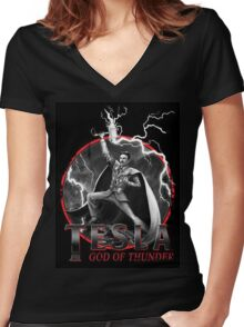 Tesla God Of Thunder Women's Fitted V-Neck T-Shirt