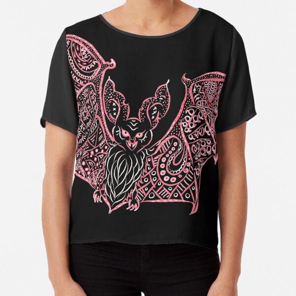Bat Bats Batter abstract art Chiffon Top