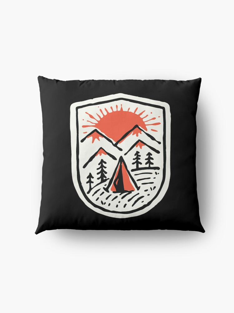 Alternate view of Sunset Camp Hand Drawn Floor Pillow