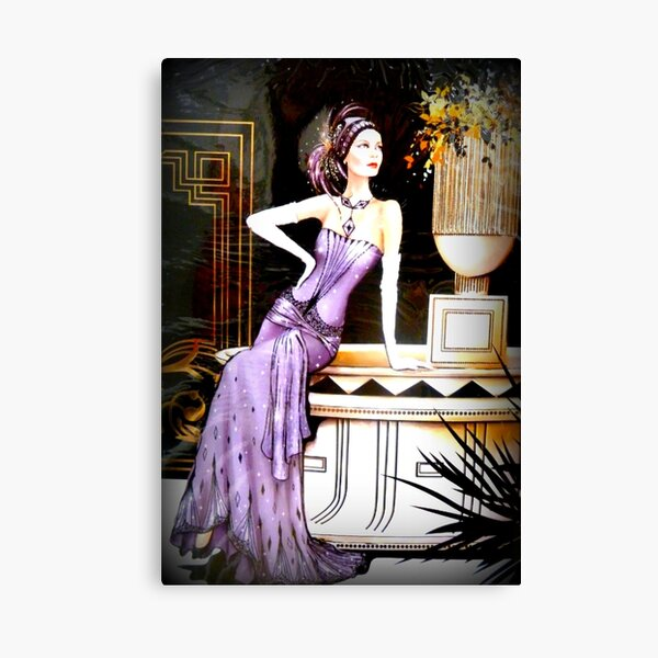 Art Deco Lady in Purple Canvas Print