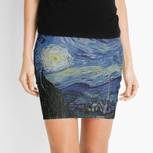 Vincent Van Gogh Starry Night 1889 Artwork, tshirts, tees, jersey, posters, tshirts, Prints, Print Mini Skirt